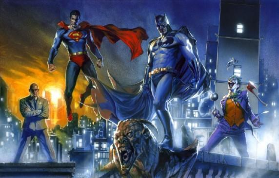 Superman, Batman, Lex Luthor et le Joker par Gabrielle Dell'otto