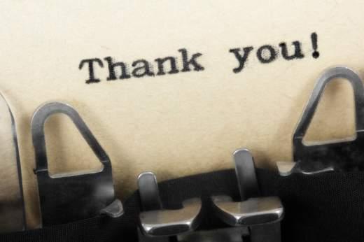 Thank you! in typewriter